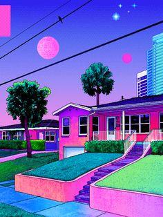 video garden : Photo Vaporwave Art, 80s Aesthetic, Bulbasaur, Aesthetics, Pixel Art, Portland, Iphone Wallpaper, Waves, Tennis