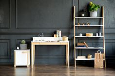 Ashme desk with storage place for wires etc.