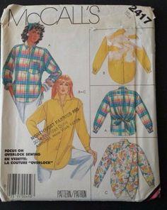 McCall Sewing Pattern 2417 Womens Size Small Petite Big Shirt Blouse #BigBlouseBigShirt