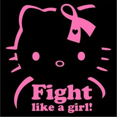Hello Kitty Breast Cancer Fight Like a Girl! - Die Cut Vinyl Sticker Decal  Pink 993aa5357918