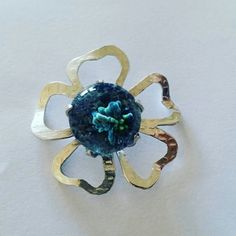 Sea flower ...lamp work and silver pendant