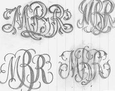 Vintage Monogram Process by Ken Barber Monogram Design, Monogram Styles, Monogram Fonts, Monogram Letters, Lettering Design, Southern Tattoos, Embroidery Monogram, Embroidery Patterns, Logo Process