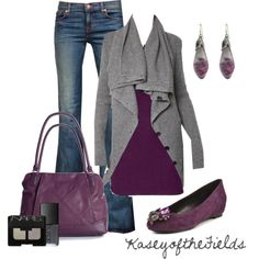 """Grey and Amethyst"" by kaseyofthefields on Polyvore"