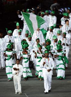 truly fabulous olympic uniforms - and attitude - Nigeria. LOVED the women boogalooing as they walked!
