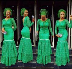 Last Beautiful Rock Green Aso Ebi Lace Styles. Here is green Aso ebi Lace Styles for those who love Nigerian Lace Styles, Aso Ebi Lace Styles, Latest Aso Ebi Styles, Ankara Styles, Ankara Designs, Muslim Evening Dresses, Evening Dresses Plus Size, Mermaid Evening Dresses, Prom Dress