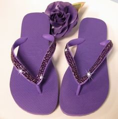 d080ccd5f5f6 Custom Crystal Havaianas in Purple with Amethyst Pave  168.69 Bridesmaid Flip  Flops
