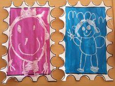 Postzegel maken: teken de koning met witte wasco daarna 1 kleur ecoline eroverheen.