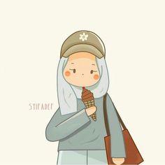 Cartoon Art, Cartoon Characters, Muslim Pictures, Hijab Drawing, Anime Muslim, Hijab Cartoon, Bare Bears, Cute Cartoon Wallpapers, Muslim Girls