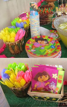 Dora Garden Party love the idea of the different color forks, spoons..