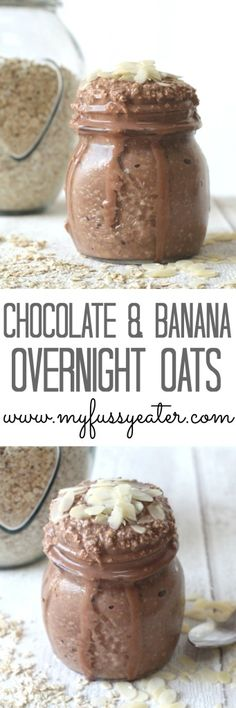 Cocoa Banana Overnight Oats. A comforting and healthy breakfast. So quick and easy to make the night before and can be reheated in a jiffy in the morning. Banana Overnight Oats, Cocoa, Diet, Loosing Weight, Diets, Theobroma Cacao