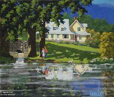 Rémi Clark, 'La première chose en arrivant, aller au bord de l'étang', 12'' x 14'' | Galerie d'art - Au P'tit Bonheur - Art Gallery