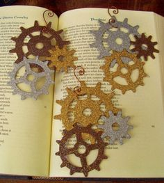Steampunk Christmas ornaments. Could use foam or maybe even card board and just paint and glitter.