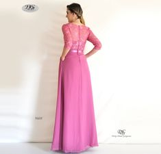 Sleeve Evening Dress in Rose Pink Style 9608 by Miracle Agency Evening Dresses With Sleeves, Formal Evening Dresses, Formal Bridesmaids Dresses, Bridal And Formal, Flowy Skirt, Pink Style, How To Look Classy, Pink Fashion, Pink Roses