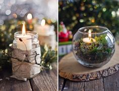 Natural Looking Homemade Holiday Candles Natural Christmas, Noel Christmas, Christmas Is Coming, All Things Christmas, Winter Christmas, Holiday Candles, Christmas Centerpieces, Xmas Decorations, Holiday Crafts