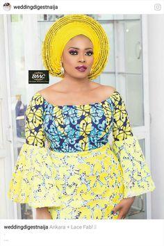 Yellow is bae ankara + lace African Fashion Ankara, Ghanaian Fashion, Latest African Fashion Dresses, African Dresses For Women, African Print Dresses, African Print Fashion, Africa Fashion, African Attire, African Wear