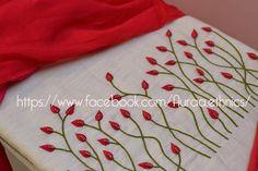 To customize, whatsapp 9043230015 for Saree, Blouse and Kur Embroidery On Kurtis, Kurti Embroidery Design, Embroidery Neck Designs, Hand Embroidery Videos, Hand Embroidery Flowers, Hand Work Embroidery, Embroidery On Clothes, Hand Embroidery Stitches, Ribbon Embroidery