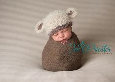 hand knit lamb baby hat