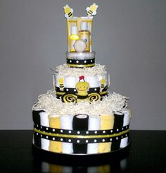 Bumble Bee Custom Handmade Diaper Cake by RSBabyBoutique on Etsy, $105.00