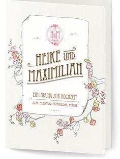 Save the Date Karte oder Einladung zur Hochzeit - Jugendstil / Vintage mit Blumen - sehr romantisch. Alle Texte und Farben sind individualisierbar. www.hochzeitskartendesign.com
