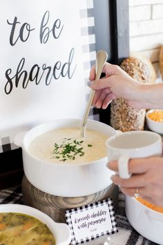 9 Tips for Hosting a Warm + Cozy Winter Party! Create a soup station with various flavors for your guests to enjoy. Get ideas, recipes + free printable designs here on our blog: www.thetomkatstud... #tomkatstudio for Garden Fresh Gourmet #sponsored