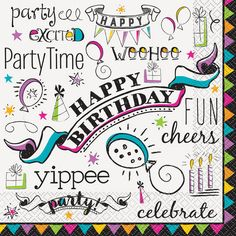 Doodle Happy Birthday Luncheon Napkins, 16ct
