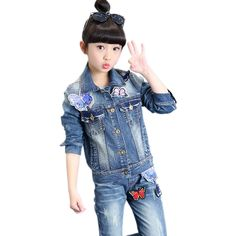 29.92$  Watch more here  - Girls Outfits Butterfly Denim Coats & Jeans 2Pcs Spring Autumn Jackets For Girls Pants Children Clothing Sets 4 6 8 10 12 Years