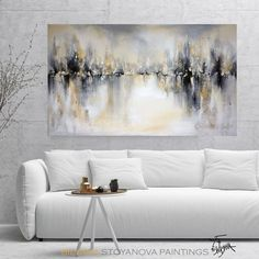 · Large Original Abstract Painting in Grey Gold Silver White, Contemporary Landscape, Palette knife Art work by artist Bilyana Stoyanova, Size: Width cm) x Height Media: High…More Contemporary Landscape, Landscape Art, Landscape Paintings, Landscape Edging, Landscape Photography, Abstract Paintings, Art Paintings, Indian Paintings, Contemporary Artwork