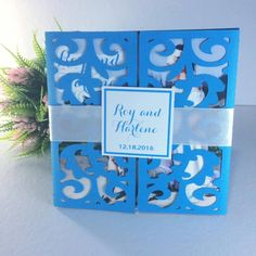 LASER CUT WEDDING INVITATION TRI FOLD TEAL Early Reservation Discounted Rate P 150.00 Regular Rate P 200.00 Minimum of 20 pieces SET includes (1) Main Invitation (1) Principal Sponsors (1) Secondary Sponsors (1) RSVP (1) MAP FREE SHIPPING WITHIN METRO MANILA