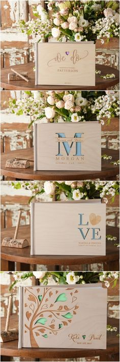 Rustic country wooden wedding guest books