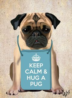 Hug a Pug 14x11 Art Print Digital puggle Pug by LoopyLolly on Etsy, $36.00