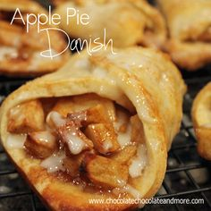 Apple Pie Danish ~ These danishes are so fast and easy to put together, the hard part is waiting for them to come out of the oven then cool just enough so you can bite into one. As a danish, you can have it for breakfast, a snack or dress it up just a bit with some vanilla ice cream or fresh whipped cream and it's time for dessert.