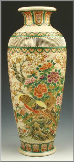 Chinese Porcelain Vase On Antique Vintage Asian Oriental