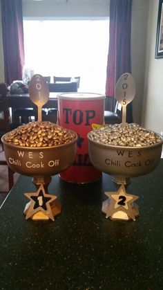 Chili cook off trophies. First and second place. #trophies #chilicookoff #fallcarnival