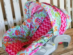 Owls and pink chevron infant Car seat cover and hood cover by SqueakyBugBabies on Etsy https://www.etsy.com/listing/201683926/owls-and-pink-chevron-infant-car-seat