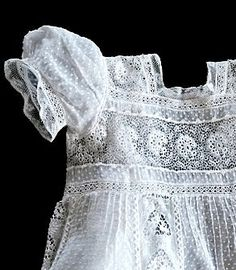 antique French dotted swiss and Irish crochet baby dress ... c. 1915