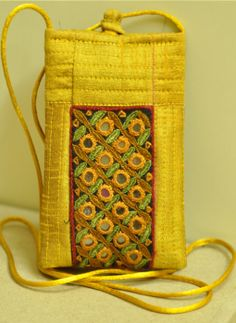 Kutch Embroidered Handbags,Indiacraft,Raw Silk Mobile Pouch with the finest Kutch embroidery- (...