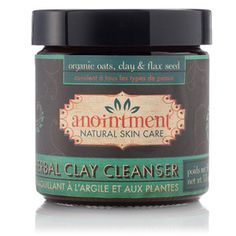 Anointment Herbal Clay Cleanser. Made with organic oats, clay & flax seeds. A gentle alternative to harsh soapy cleansers. Organic oats, clay and flax seed powder and herbal botanicals gently cleanse without overdrying. Daily Use: Pour a generous amount of Herbal Clay Cleanser into the palm of your hand. Moisten it with warm tap water to form a paste. Apply to face, rubbing gently to exfoliate. Rinse with warm water. Finish with Rose Toner. Mix with honey and apply as a facial!