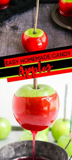 Homemade candy apples are the perfect fall recipe for kids! This fall treat combines fresh apples, sugar, corn syrup and red food coloring. Learn how to make colored candy apples for a fall treat they would not forget! Sweets Recipes, Candy Recipes, Apple Recipes, Fall Recipes, Colored Candy Apples, Easy Delicious Recipes, Delicious Food, Amazing Recipes, Yummy Yummy