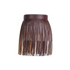 Women Fringed Skirt Waistband Closure Decorative Tassel Belt ($14) ❤ liked on Polyvore featuring accessories, belts, coffee, fringe belt, tassel belt and embellished belt
