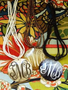 Monogrammed Beaded Shell Necklace with 3 letter initial monogram by sparklypinkpolkadots, $14.00