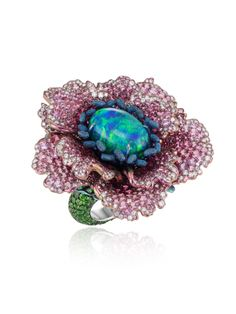 Chopard Fleurs d'Opales ring, in rhodium-plated 18k white gold and titanium…