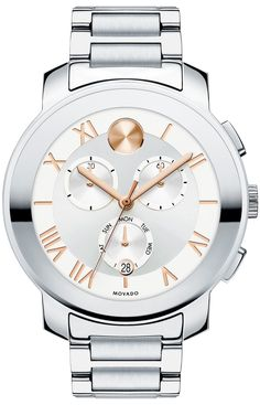 Movado Bold - Movado BOLD Luxe chronograph, 40 mm stainless steel case with mirror-finish bezel, silver-toned dial with rose gold-toned dot, hands and etched Roman numerals, 2 timing/day indicator subdials, and date display, stainless steel link bracelet with push-button deployment clasp, K1 crystal, 1/1 Swiss quartz chronograph movement, water resistant to 30 meters.