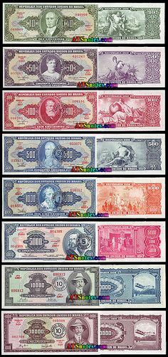 Brazil banknotes - Brazil paper money catalog and Brazilian currency history Money Template, Money Images, Passport Online, Money Worksheets, Money Notes, Foreign Coins, Brazil Travel, Thinking Day, Arte Popular