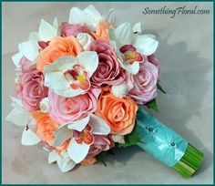 Beach themed bridal bouquet of white orchids, pink, peach, and coral roses, and sea shells. Wrapped in an aqua satin ribbon and accented with teal and white pearls. #bouquet #bridal #beach #wedding #flowers #floral #destination #seashells