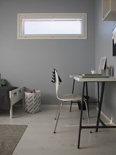 Hannas Home / boysroom / kidsroom / workspace Home Wall Colour, Wall Colors, Kidsroom, Office Desk, Corner Desk, Lifestyle, House, Furniture, Blog