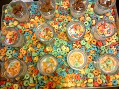 Cereal shots with ice cold milk at a Breakfast themed event! What a cute, easy to execute idea!