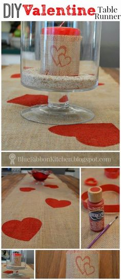 Blue Ribbon Kitchen: EASY VALENTINE DECOR. Burlap table runner. Easy Painted heart DIY decoration!