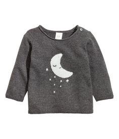 Applikoitu neulepusero   Tummanharmaa/Kuu   Lapset   H&M FI