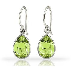 3CT Pear-Shaped Gemstone Dangle Earrings - Peridot (€8,23) ❤ liked on Polyvore featuring jewelry, earrings, green, jewelry & watches, dangle earrings, green jewelry, spanx, green gemstone earrings and polish jewelry