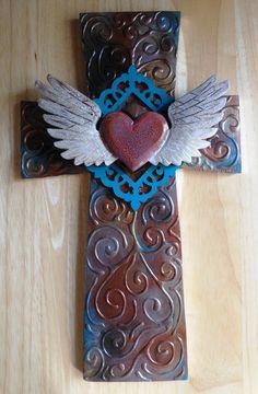 OOAK faux metal found object wood winged by CrossMyArtByLynnWebb, $50.00